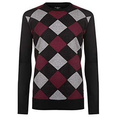 a363dc79a7c5c0 Pierre Cardin Mens New Season Argyle Knitted Jumper Crew Neck V Neck and Quarter  Zip (XL, Black/Wine): Amazon.co.uk: Clothing