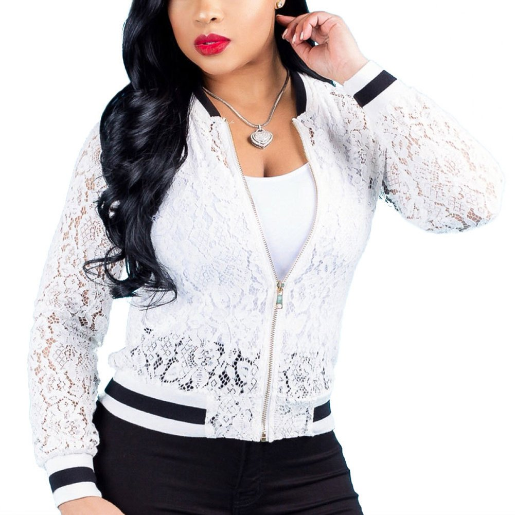Womens See Through Lace Patchwork Long Sleeve Zip up Bomber Jacket Short Coat Tops White M