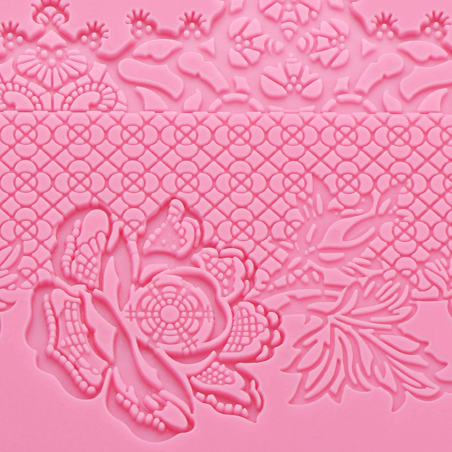 Silicone Lace Molds, Beasea 5pcs Fondant Cake Decorating Tools Lace Decoration Mat Flower Pattern Molds Sugar Craft Tools - Pink by Beasea (Image #5)