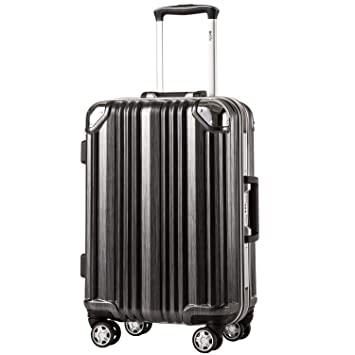 3ed7ccc33d79 Coolife Luggage Aluminium Frame Suitcase with TSA Lock 100% PC (L(28in),  Black)