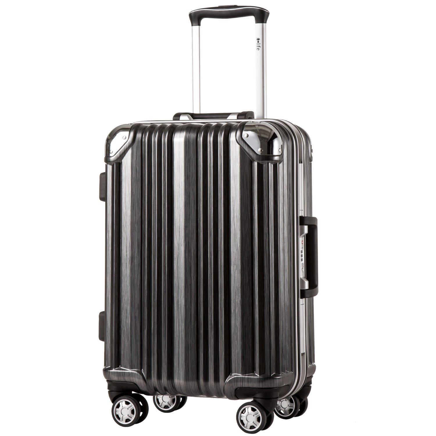Coolife Luggage Aluminium Frame Suitcase 3 Piece Set with TSA Lock 100%PC (L(28in), Black)