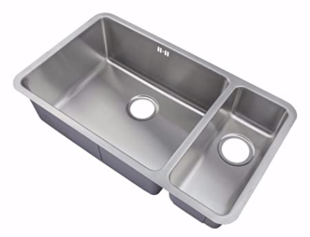 Kitchen Sinks Undermount 1.5 Bowl Brushed Steel (D02L): Amazon.co.uk