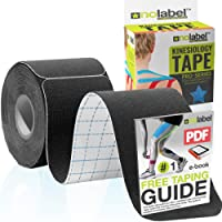 NO LABEL Pre Cut Kinesiology Tape - Pre-Cut Sport Tape Strapping Muscle Tape Sports Tape | Pro 5m Medical Roll H20 20 x Precut Waterproof Athletic Physio Muscles Strips | FREE PDF Ebook Taping Guide