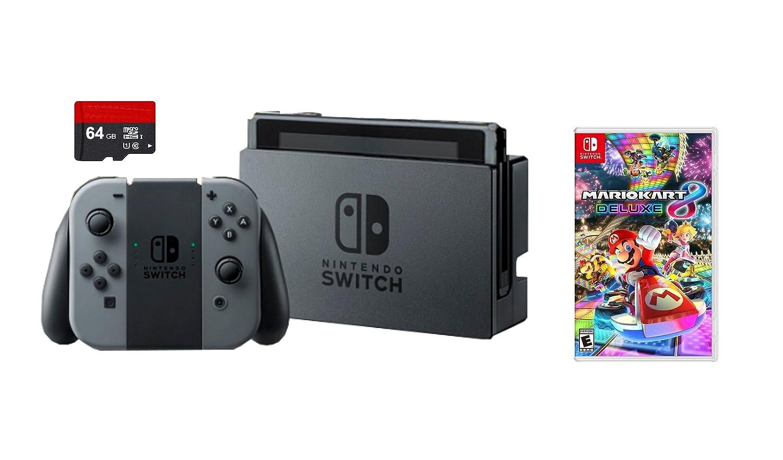 Nintendo Switch 3 items Bundle Nintendo Switch 32GB Console Gray Joy-con,64GB Micro SD Memory Card and Mario Kart 8 Deluxe