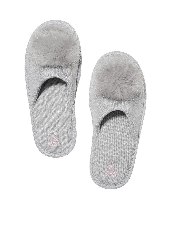 71d10431af348 Amazon.com | Victoria's Secret Pom Pom Pretty Slippers Grey- Large 9 ...