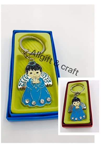 Amazon.com: Baptism favors Set Of 12 Keychain Ring/First ...