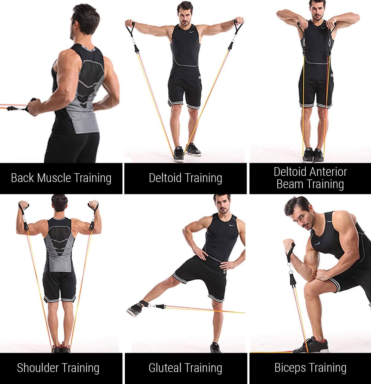 ROMIX Bandas Elásticas Musculacion 150 LBS, 11 PCS Bandas de Resistencia Fitness Set con 5 Niveles Látex Tubo, Anclaje Puerta, Tobillo Cintas, Bolsa ...