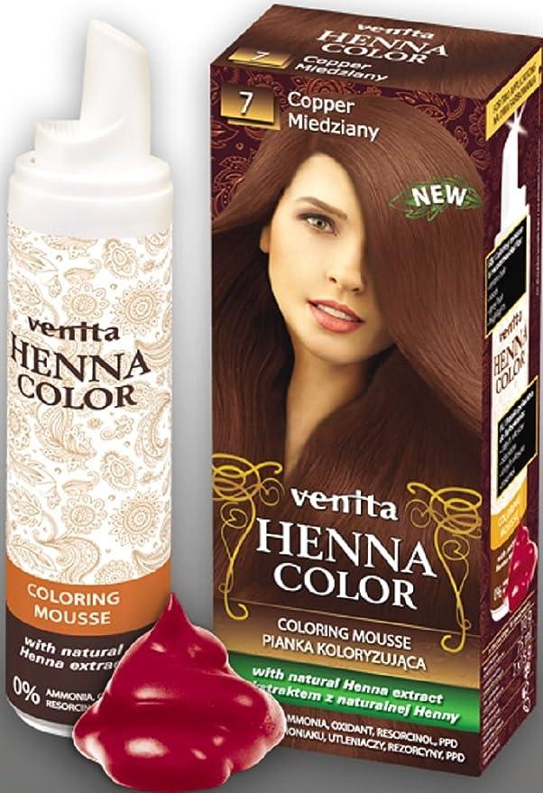 Venita Henna Color Mousse Espuma de Tinte para el Cabello con Extracto Natural de la Alheña. Paquete especial. Cobre (Copper) № 7