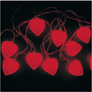 """Fun Express Valentine Heart Shaped String Light Set (1 Set) 8' Long with 10 2"""" Hearts, Classroom & Party Decor, Valentine's Day Party Supplies"""