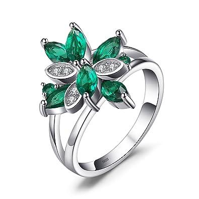 ceeecb763cef JewelryPalace Anillo elegante en forma de pétalo adornado Nano rusa imitado  esmeralda en plata de ley 925  Amazon.es  Joyería