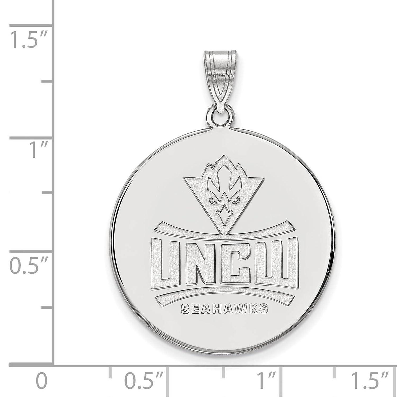 925 Sterling Silver Rhodium-plated Laser-cut University of North Carolina Wilmington XL Disc Pendant