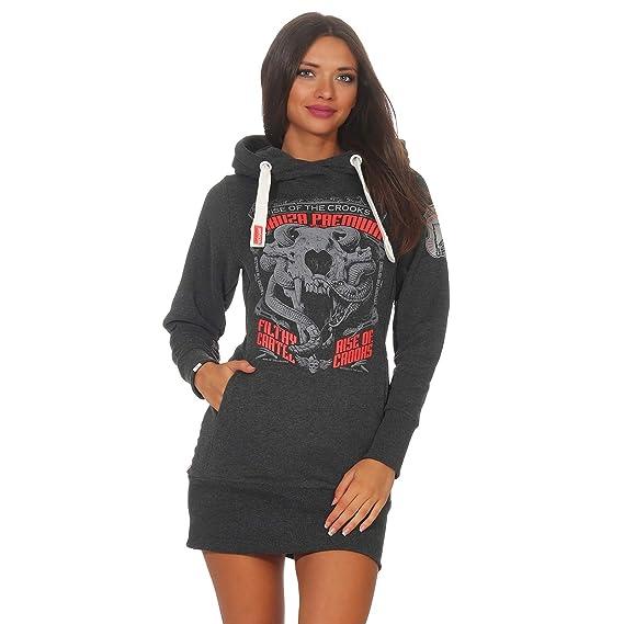 902a814fc489 Yakuza Premium Frauen Kapuzensweater Animal Skull grau  Amazon.de   Bekleidung
