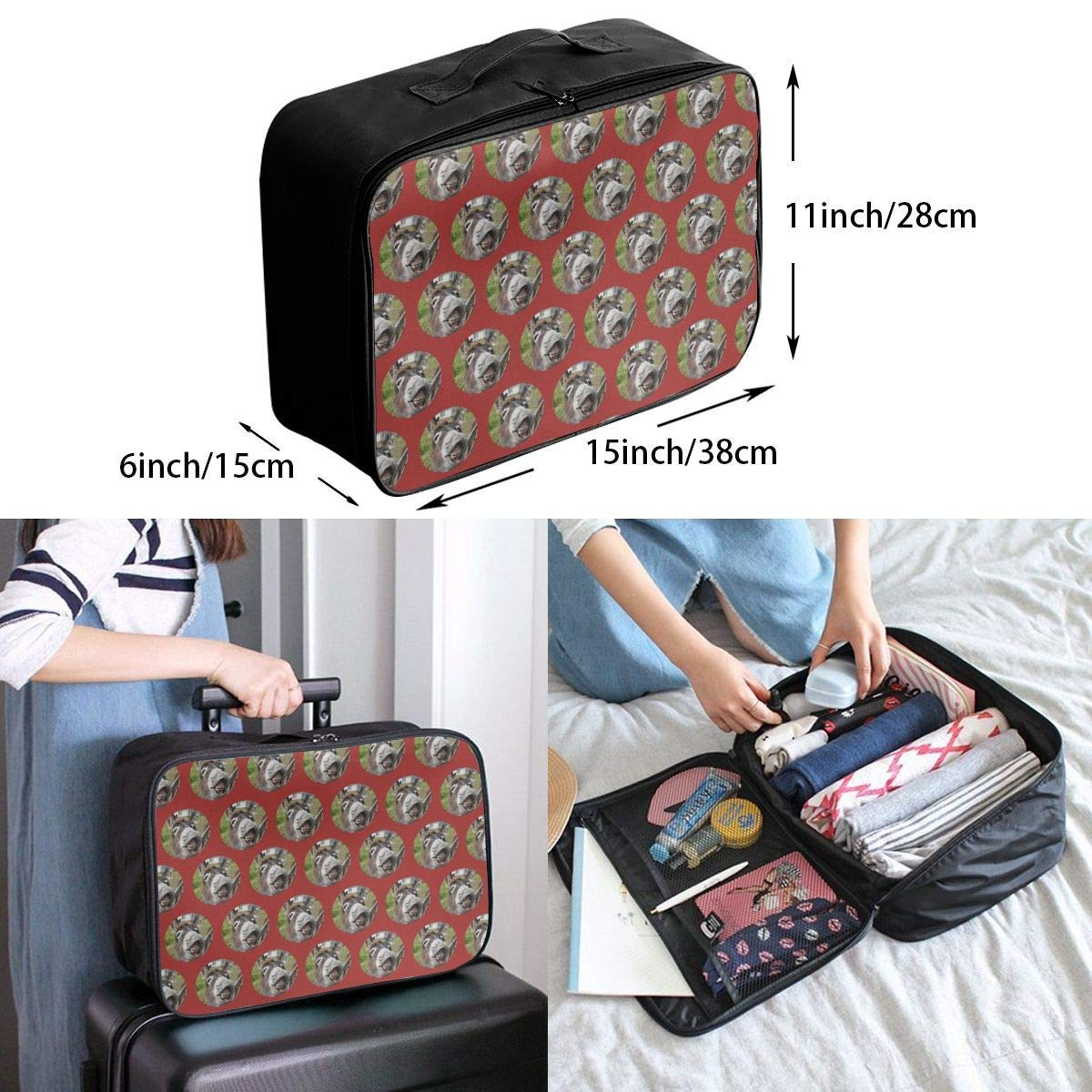 Funny Dogs Pug Puppie Donut Coffee Pattern Travel Duffel Bag Waterproof Fashion Lightweight Large Capacity Portable Luggage Bag