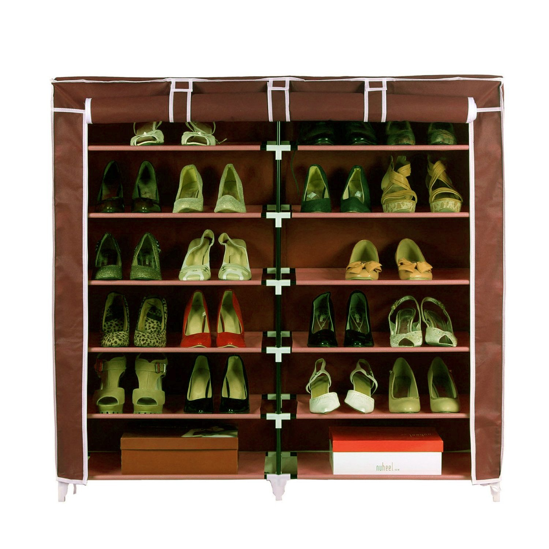 Pindia Fancy Fabric Shoe Rack Organizer, 6 Layer, Dark Brown