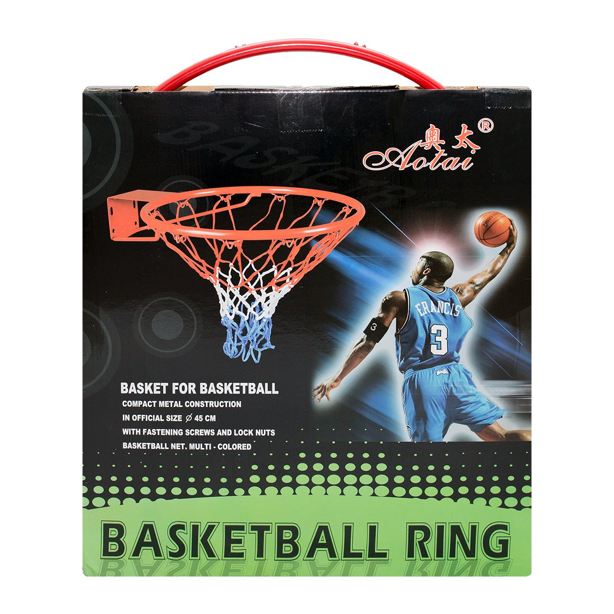 18'' Professional Basketball Hoop Ring with Net for Wall Mounted Outdoor Hanging by viper s traders