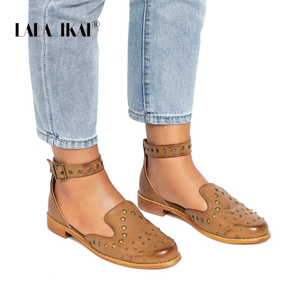 d76f89dc9eab3 LALA IKAI Women Studded Flat Sandal Closed Toe Ankle Strap Leather Cut Out  Comfy Summer Beach Shoes
