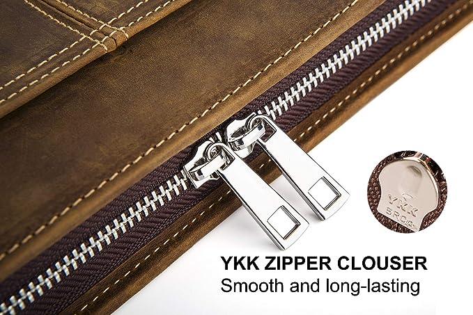 Funda de piel auténtica para carpeta de conferencias, de Cohokori; tamaño A4, con cremallera, diseño vintage, color marrón, estilo vintage, iPad Pro 12.9: ...