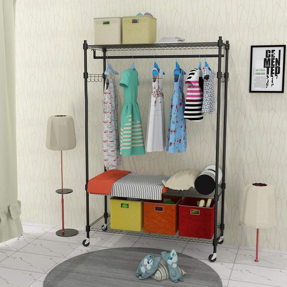Kaluo Portable Clothes Wardrobe Garment Rack, Home Closet Hanger Storage Organizer