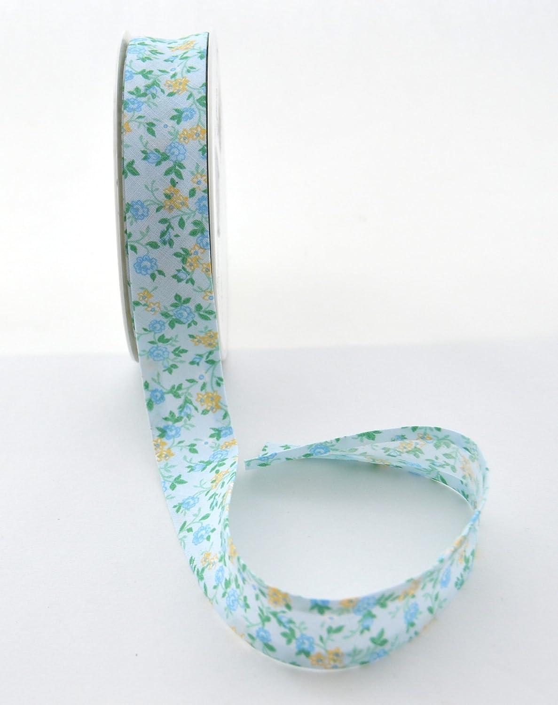 Inastri 25//5//5 mm Polycotton Bias Binding-Col 11x11x3 cm xx FLORAL-20m Roll Polyester Cotton Green Floral