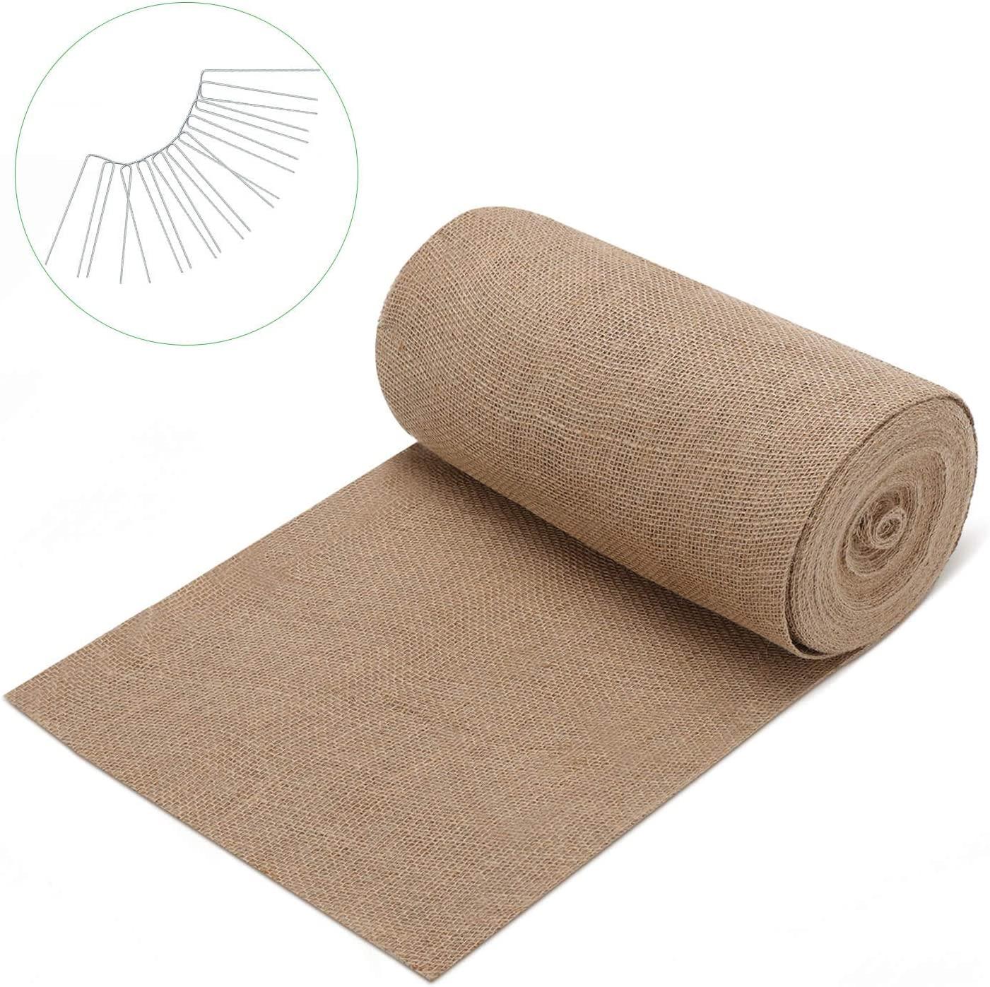 GROWNEER 2.6 x 48 Feet Natural Burlap Weed Barrier Fabric with 12 pcs Garden Stakes, Jute Planter Liner for Garden, Landscape, Edging, Window Planters, DIY, Seed Starting