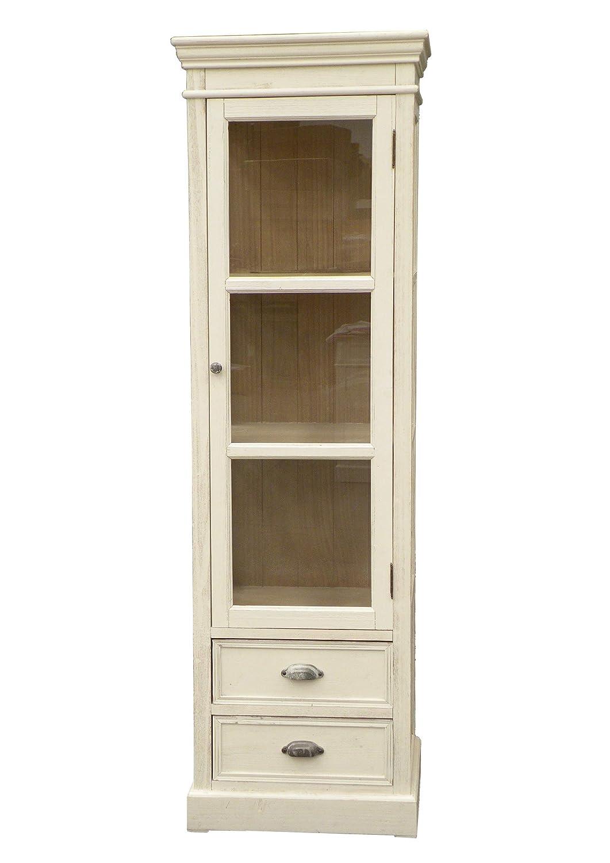Amaranda Casa Vetrinetta Soggiorno 2 Ripiani 2 cassetti cm 56x40x185,5 Colore Bianco decapato