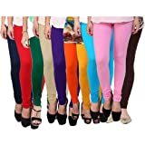 Rooliums Women's Cotton Leggings (Pack of 10) (HRCLCOMBO10-12_Multi Color _Free Size)