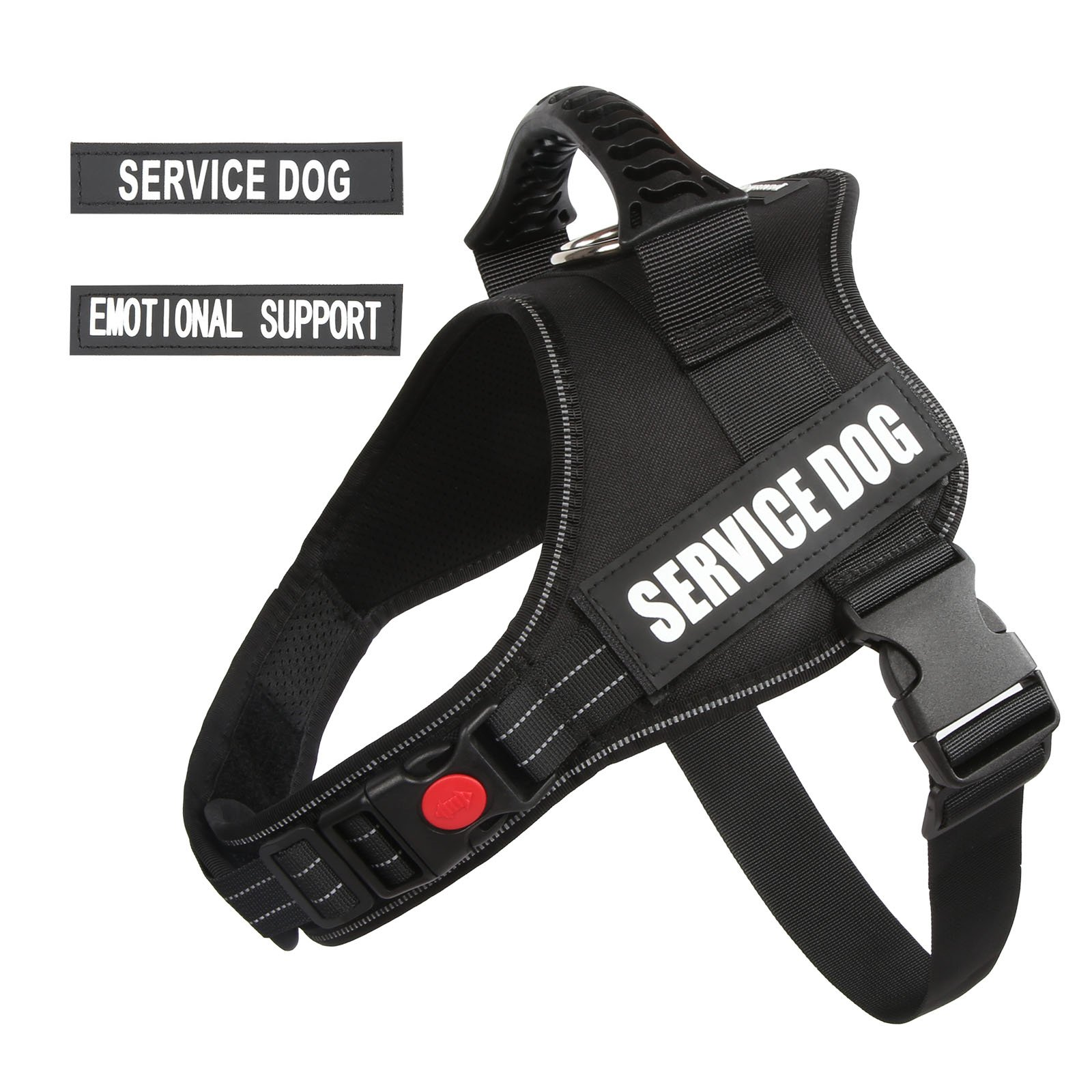 """PawShoppie Real Reflective Service Dog Vest Harness with 2 Free Removable Service Dog and 2 """"Emotional Support'' Patches, Woven Polyester & Nylon, Comfy Soft Padding(Black) (S(Girth:20-25''))"""