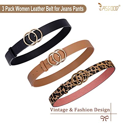 Womens Waistband Ladies Vintage Circle Gift Metal Classic Buckle Leather Belts