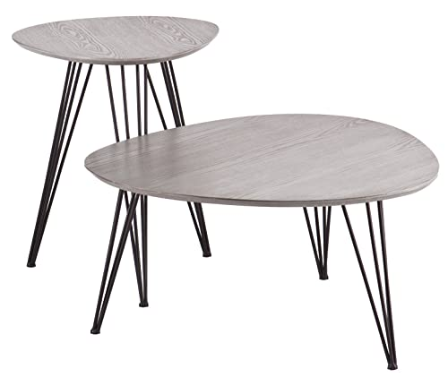 Bannock Coordinating Accent Tables – Set of 2 – Matte Gray Top w Black Metal Frame