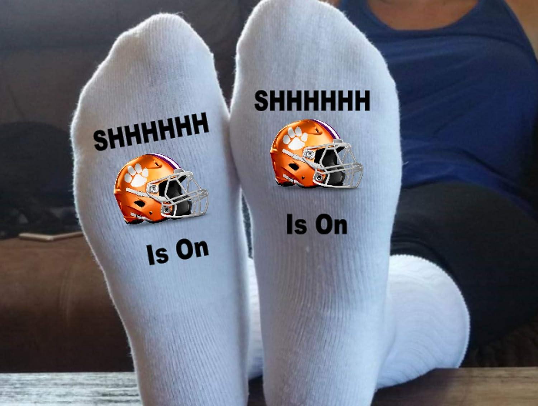 Great Gift Idea Dad Socks Football Socks SHHHHHH Clemson Grandma Socks Football Moms Socks Stocking Stuffer Grandpa Socks The Game Is On Christmas Gift