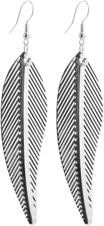 2LIVEfor - Pendientes largos de pluma, plata, largos, con piedras brillantes, diseño de hojas, plumas