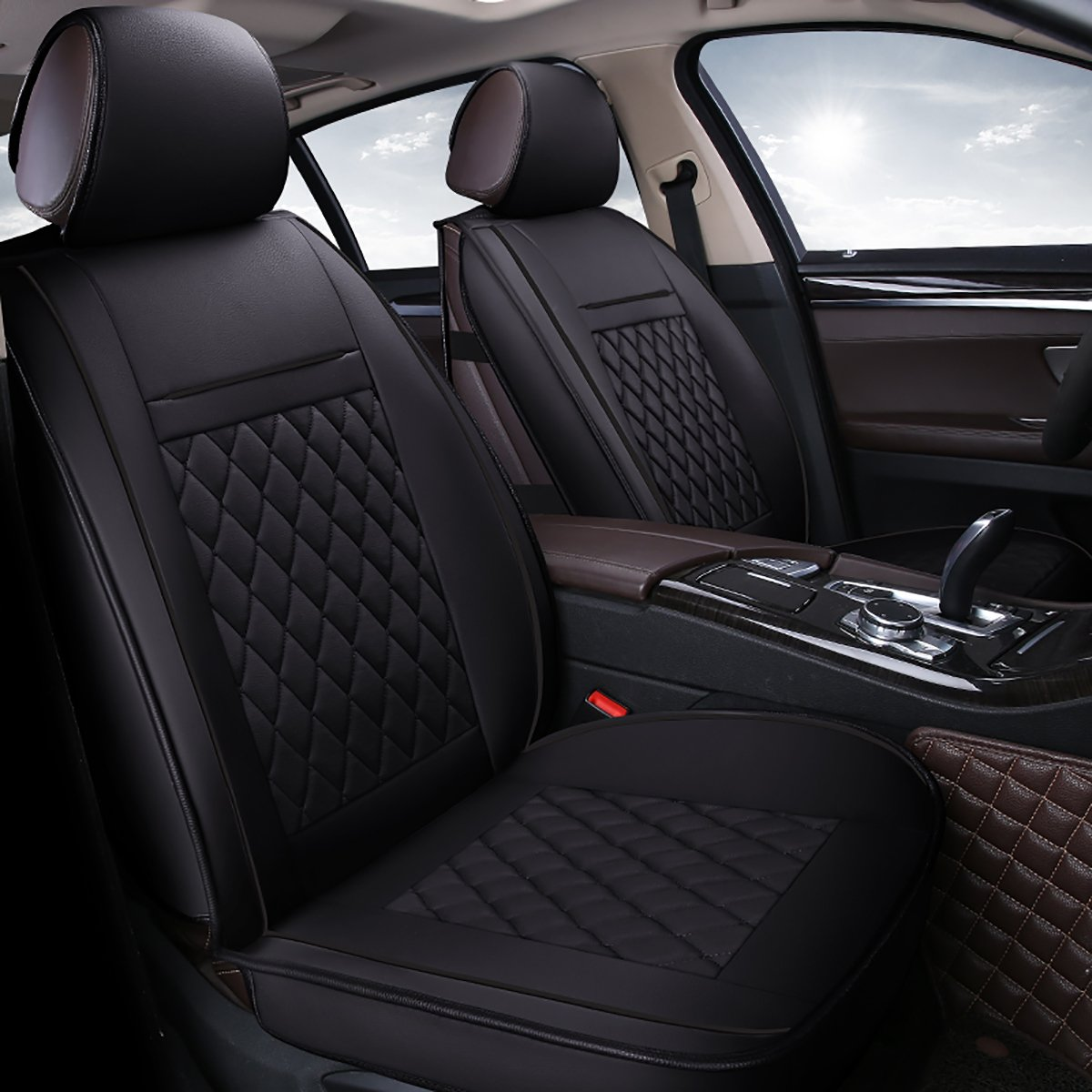 INCH EMPIRE 2 Front Car Seat Cover Waterproof Leatherette Cushions Universal Fit Simple Diamond-Line Style(2 Front Black Grid Trim)