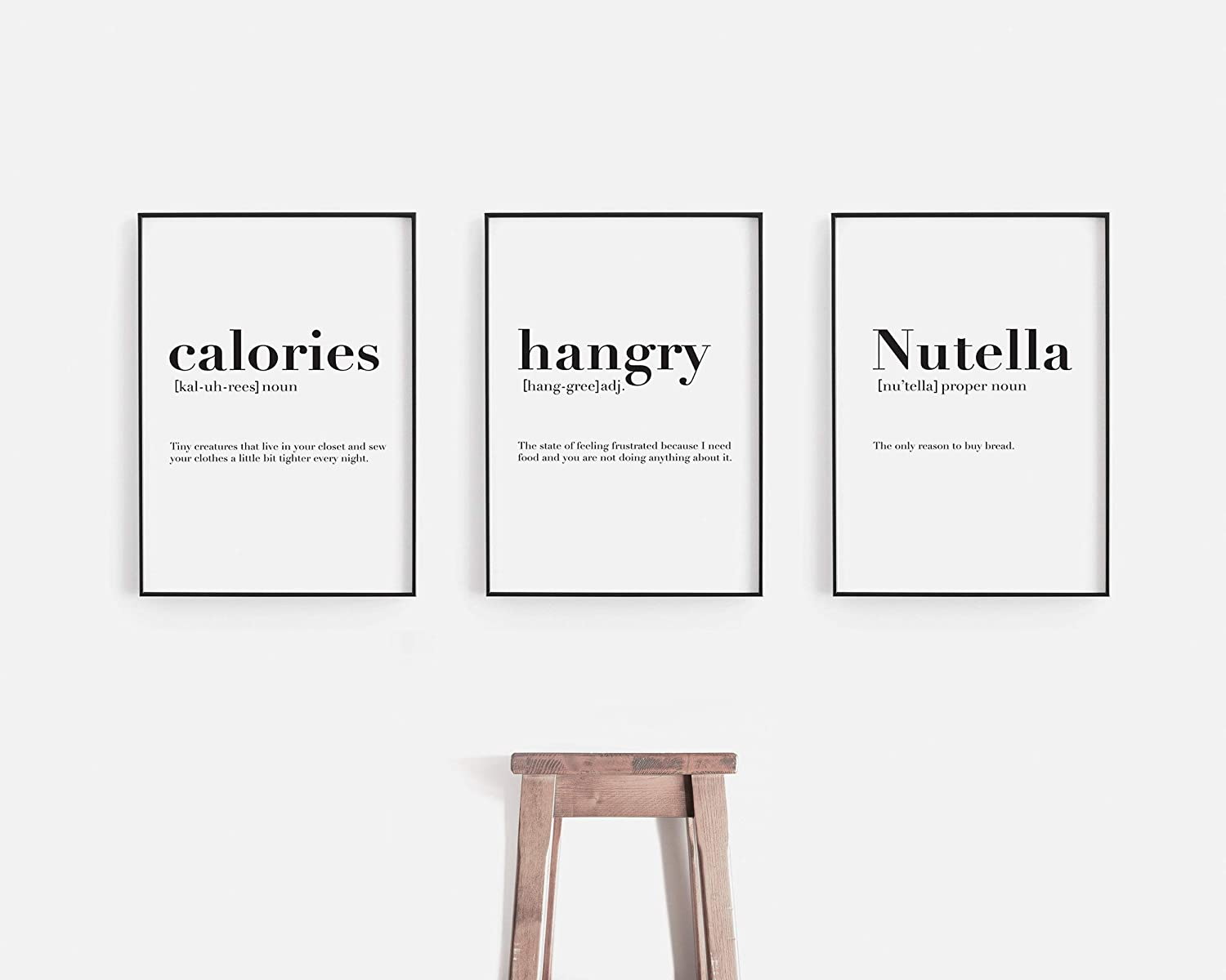 Flowershave357 Calories Hangry Chocolate Spread Definition Prints Funny Definition Wall Art Set of 3 Prints Kitchen Wall Art Decor Definition Print