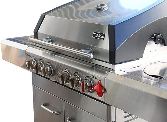 DMS Barbacoa de gas multifuncional con infrarrojos, wok y pincho giratorio, parrilla: Amazon.es: Jardín