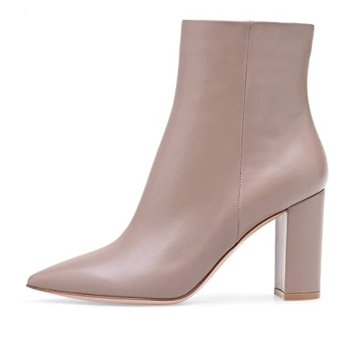 ELASHE Botas Altas de Mujer | 8cm Zapatos de tacón | Botines de Tacón Ancho Botas con Cremallera: Amazon.es: Zapatos y complementos
