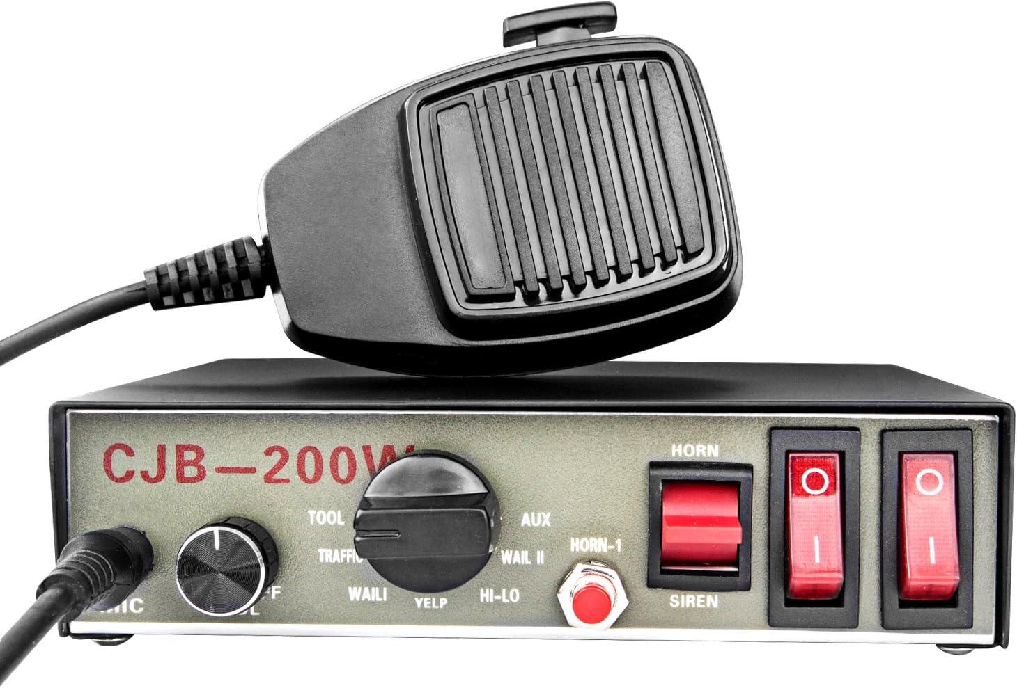 Sir/ène de police 9/Tons avec Haut-parleur carr/é en plastique noir Yhaavale CJB DC12/V Microphone /électronique filaire /à plusieurs tonalit/és