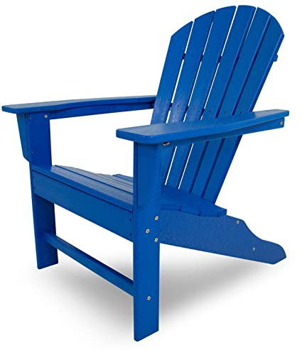 POLYWOOD Outdoor Furniture South Beach Adirondack Chair, Pacific Blue Recycled  Plastic Materials