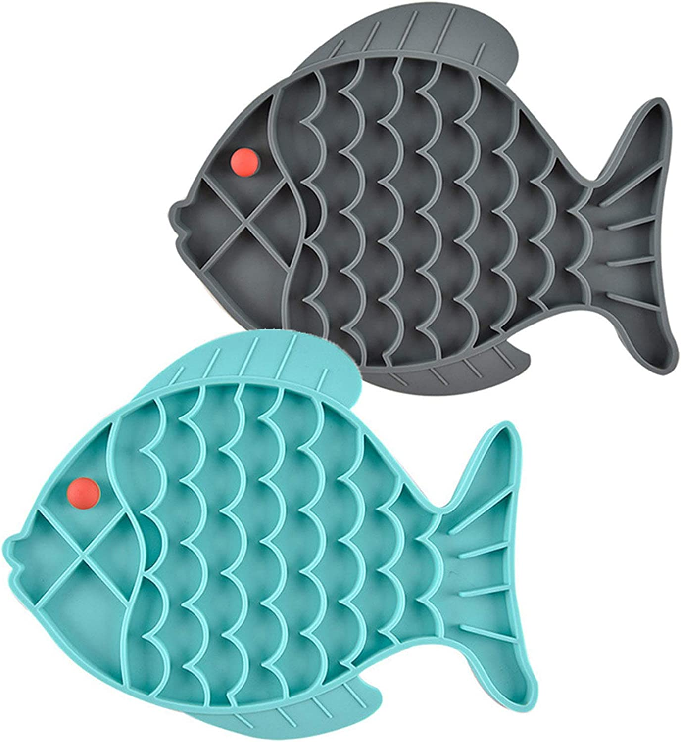 Cat Slow Feeder Bowl Fish-Shaped Cat Puzzle Feeder Food Mat for Small Dog & Cats Slow Eating, Cat Treat Toy, Anxiety Relief ( 2 PCS)