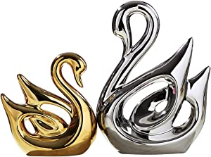 TDRFORCE Swan Lovers Figurines Porcelain Sculptures Statues (Set of 2),Electroplating Polished Ceramic Decoration Animals Crafts Ornaments Home Decor(Swan Lover-Silver(Large) Gold(Small))