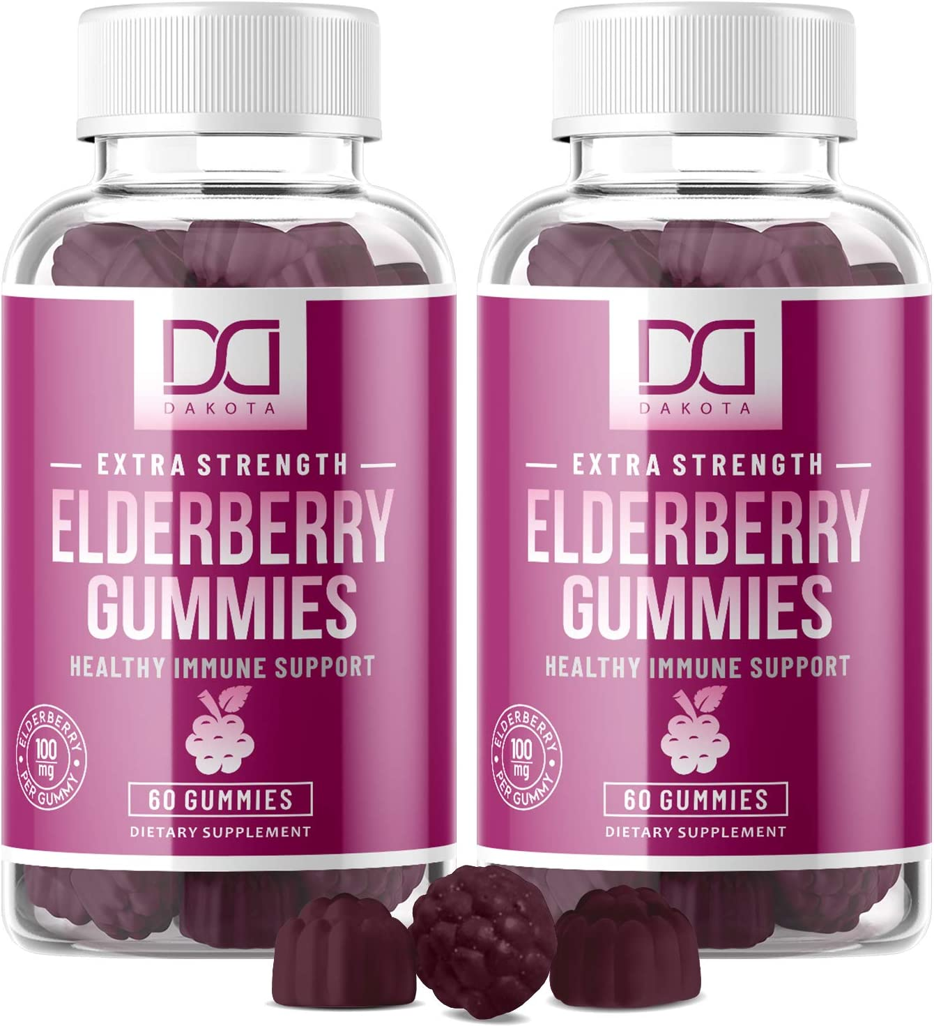 Elderberry Gummies with Zinc, Vitamin C for Adults, Kids for Immune Support Booster Supplement – Organic Sambucus Black Elderberry Extract – Top Alternative to Capsules, Syrup, Pills, Tea 2 Pack
