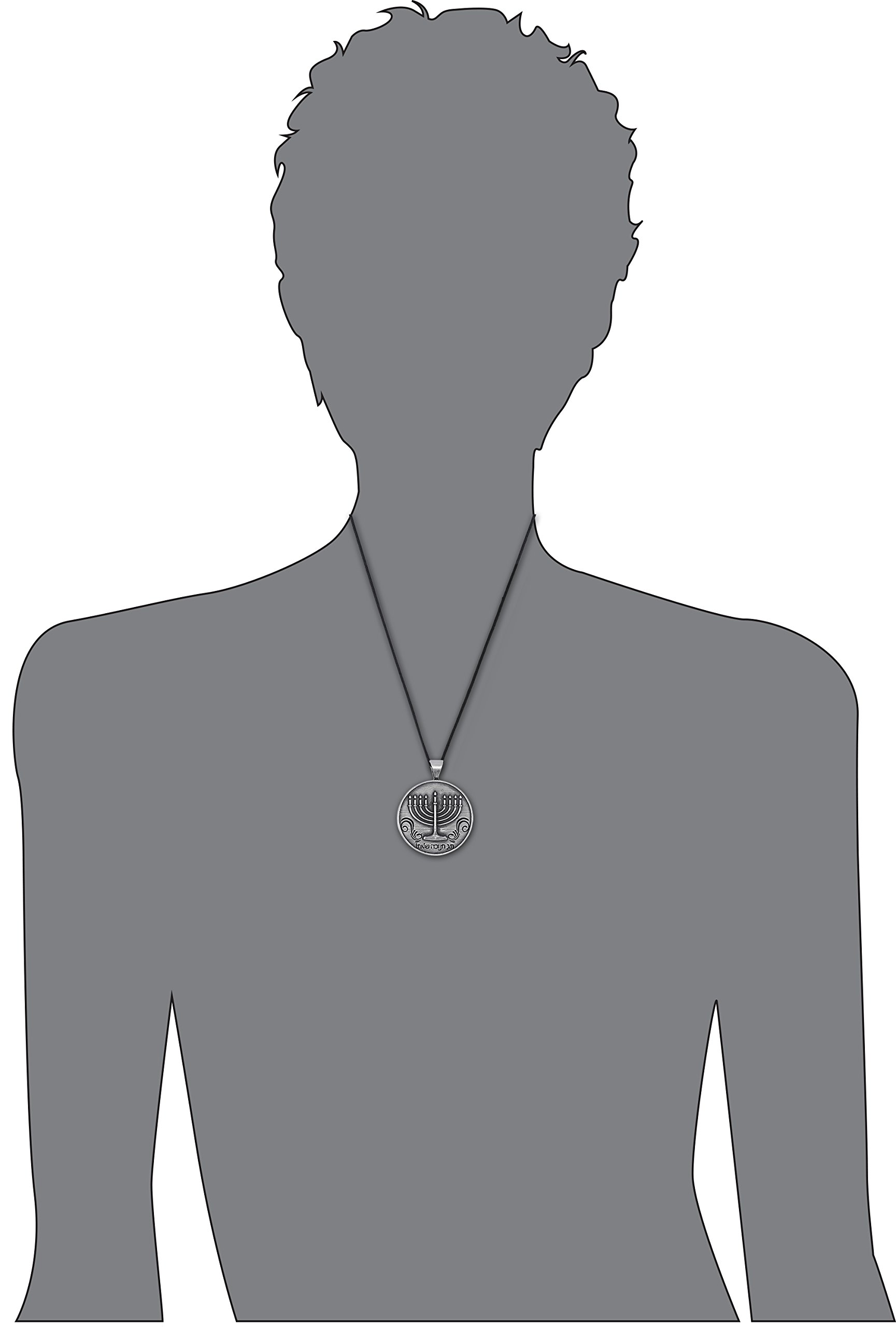 Dan's Jewelers Happy Hanukkah Jewish Menorah Pendant Necklace, Fine Pewter Jewelry by Dan's Jewelers (Image #3)
