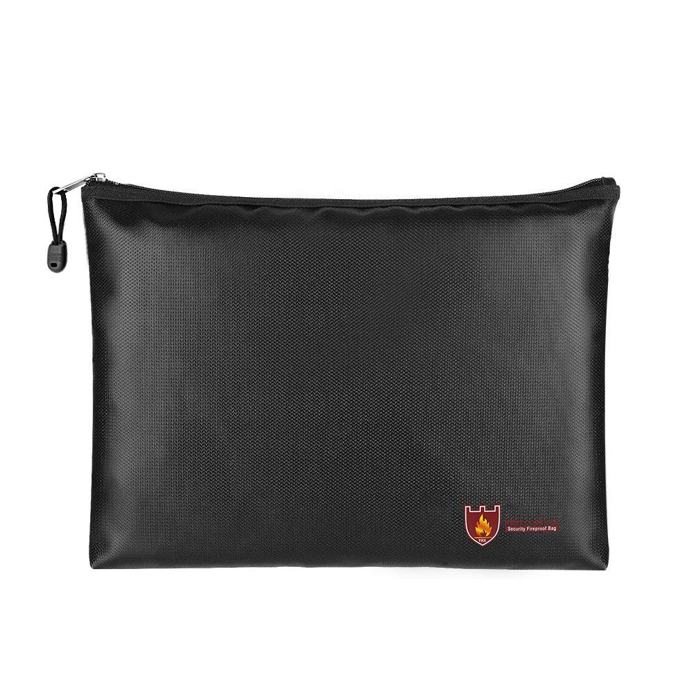 MoKo Fireproof Document Bag, A4 Size 13.7'× 9.8' Fire & Water Resistant Envelope File Holder Safe Zipper Cash Pouch for Protecting Valuables, Passport, Documents, Money, Jewelry, Black