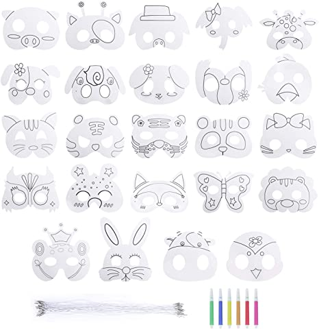 Heveer Masques Pour Enfants Animaux Artisanat Carte Blanche