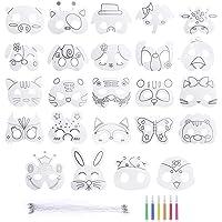 Mascarilla de Animal 24 Piezas Máscaras para Colorear