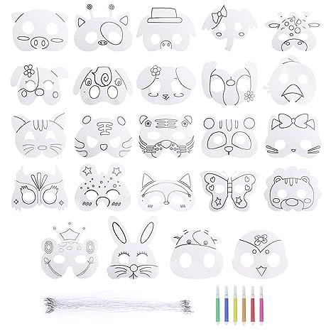 Maschere Da Colorare Per Bambini Dipinta A Mano In Bianco Con