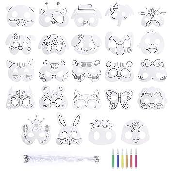 Mascarilla de Animal 24 Piezas Máscaras para Colorear en Blanco DIY Máscara Manualidades Infantiles de Pintura para Halloween Navidad Cosplay ...