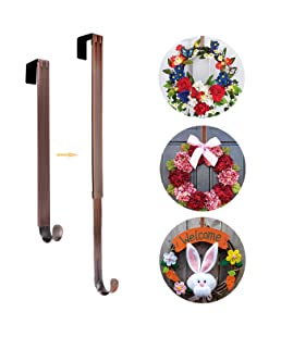 AnCintre Wreath Hanger, Adjustable Length from 15 to 25 Inch Wreath Hanger for Front Door Heavy Duty with 20LB Upgrade Wreath Hook Holder for Christmas Decorations, Bronze