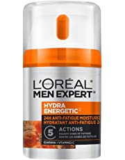 L'Oréal Paris Men Expert Face Moisturizer, Hydra Energetic 24H Anti-Fatigue Cream with Guarana + Vitamin C, 48 mL