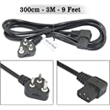 (300cm - 3M - 9 Feet) Storite L Shape IEC Mains Power Cable India Plug Lead Cord for Kettle PC (Desktop) Monitor and Printer -Black