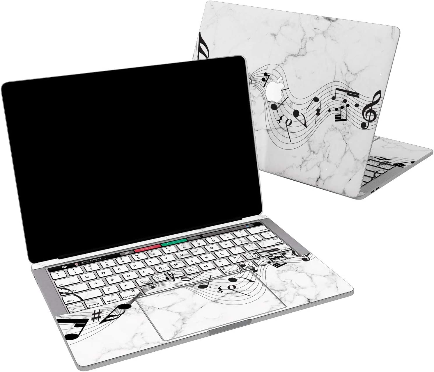 Lex Altern Vinyl Skin for MacBook Air 13 inch Mac Pro 16 15 Retina 12 11 2020 2019 2018 2017 Cute Marble Music Notes White Simple Black Song Girl Laptop Trackpad Cover Keyboard Decal Sticker Wrap